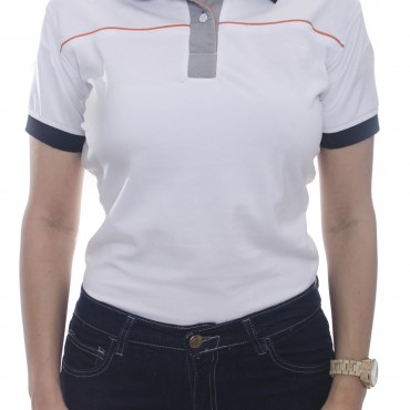 Camiseta tipo polo dama, combinada